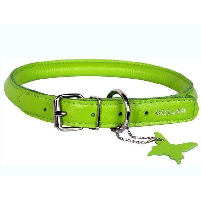 Billede af Rundsyet læderhalsbånd, Lime, XLarge
