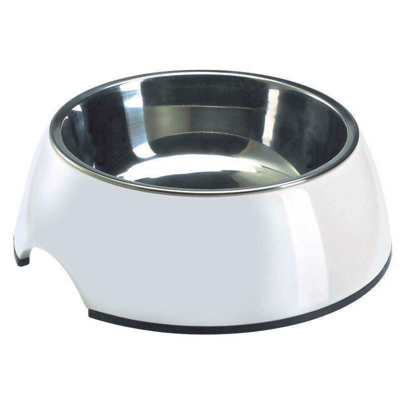 N/A – Hvid madskål til hunde, melamin og rustfrit stål, 700 ml fra mypets.dk