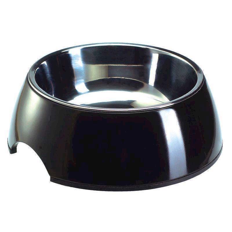 Sort madskål til hunde, melamin og rustfrit stål, 700 ml fra N/A på mypets.dk