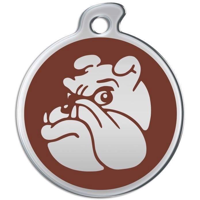 N/A – Hundetegn i rustfrit metal med bulldog ansigt på mypets.dk