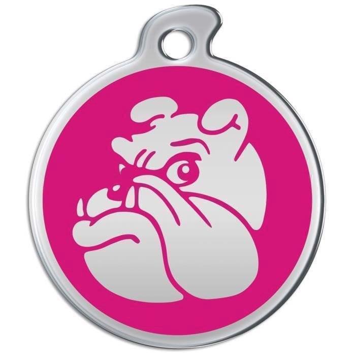Hundetegn i rustfrit metal med bulldog ansigt fra N/A fra mypets.dk