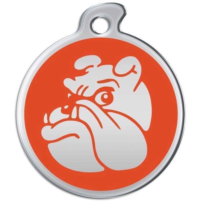 N/A Hundetegn i rustfrit metal med bulldog ansigt på mypets.dk