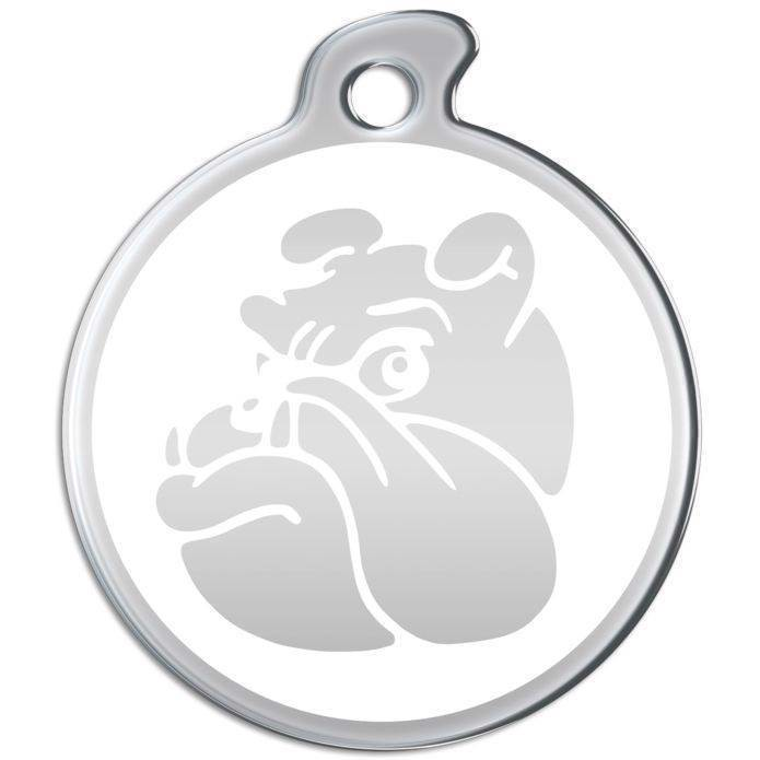 Hundetegn i rustfrit metal med bulldog ansigt fra N/A på mypets.dk