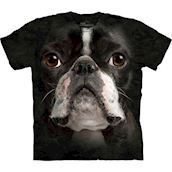 T-shirt med k�mpe Boston Terrier ansigt
