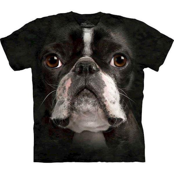 N/A – T-shirt med kæmpe boston terrier ansigt på mypets.dk