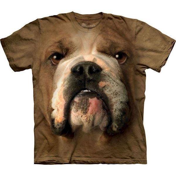 N/A – T-shirt med kæmpe bulldog ansigt fra mypets.dk