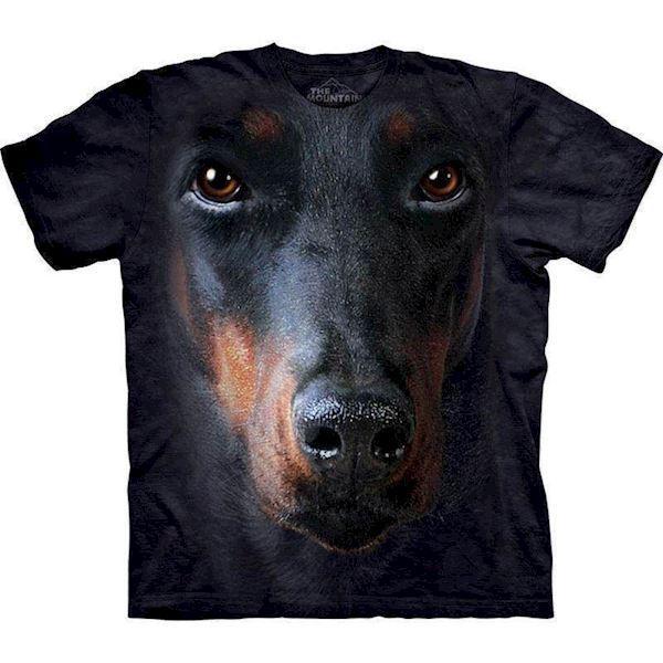T-shirt med kæmpe dobermann ansigt fra N/A på mypets.dk