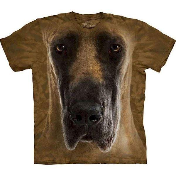 N/A – T-shirt med kæmpe grand danois ansigt på mypets.dk