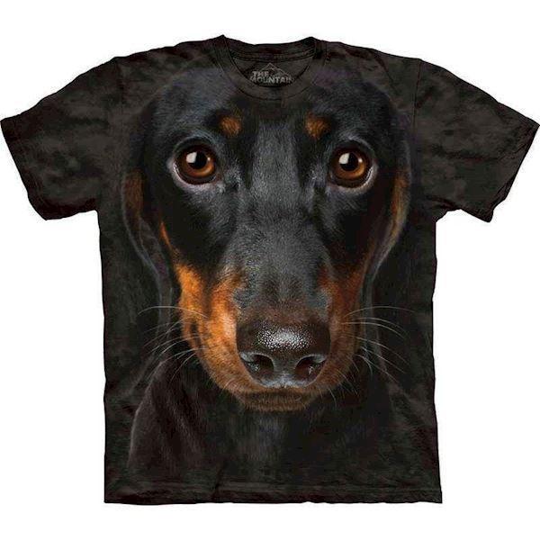 N/A – T-shirt med kæmpe gravhund ansigt på mypets.dk