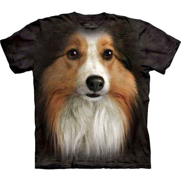 N/A T-shirt med kæmpe sheltie ansigt fra mypets.dk