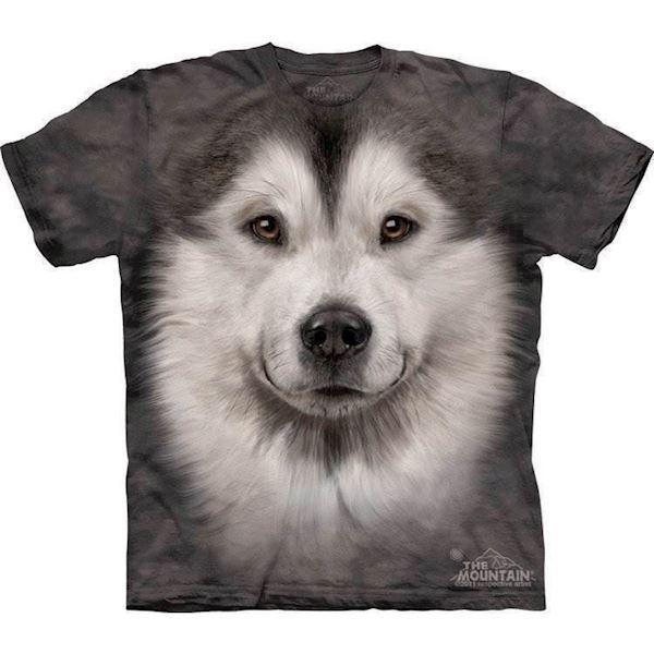 N/A – T-shirt med alaskan malamute ansigt fra mypets.dk