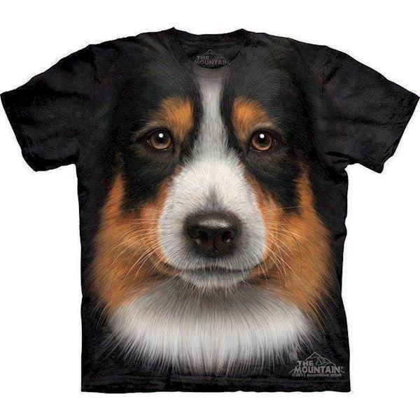 T-shirt med australian shepherd ansigt fra N/A fra mypets.dk