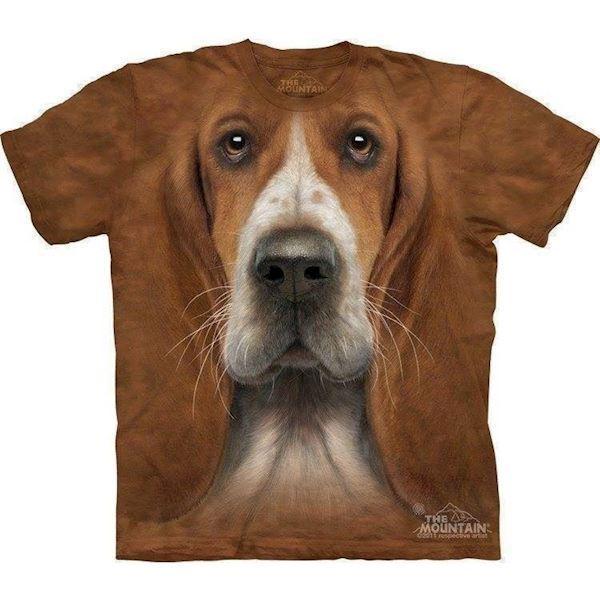 N/A – T-shirt med basset ansigt fra mypets.dk