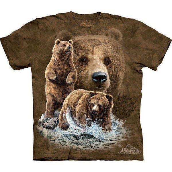 N/A T-shirt med bjørne der fanger laks på mypets.dk