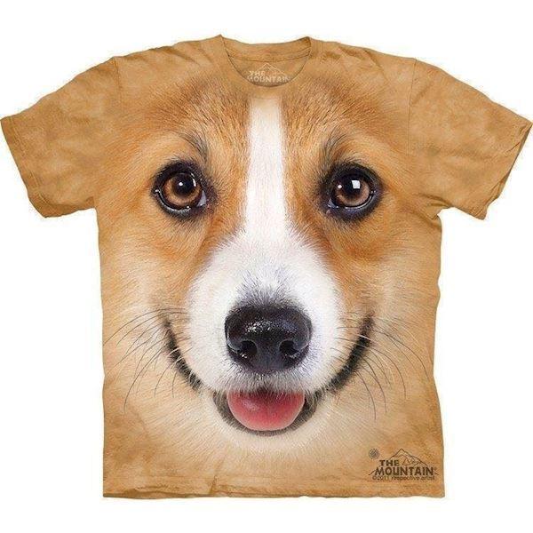 N/A – T-shirt med corgi ansigt, voksen medium på mypets.dk