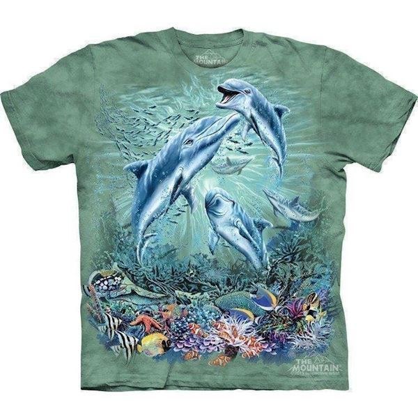 N/A T-shirt med delfin collage fra mypets.dk