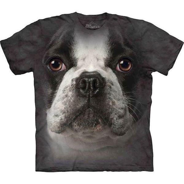N/A T-shirt med kæmpe fransk bulldog ansigt fra mypets.dk
