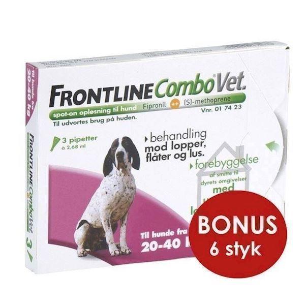 Frontline combo til hunde 20-40 kg - bonuspakke 6 stk fra N/A på mypets.dk