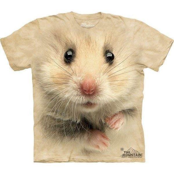N/A – T-shirt med kæmpe hamster ansigt, voksen xl på mypets.dk