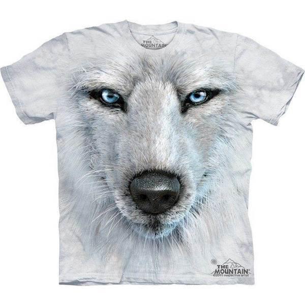 N/A – Hvid ulv ansigt t-shirt fra mypets.dk
