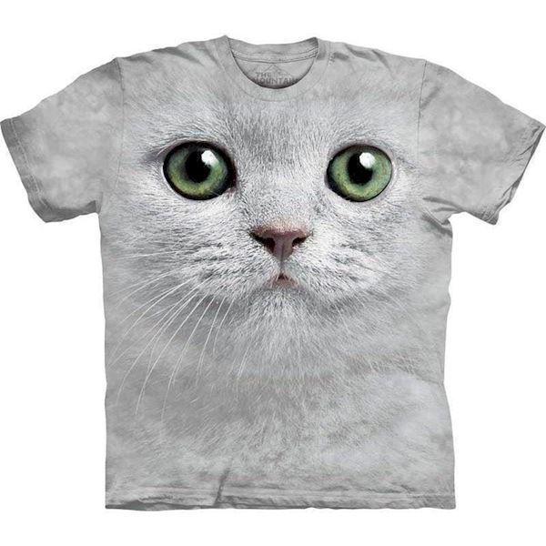 N/A T-shirt med kæmpe hvid kat på mypets.dk