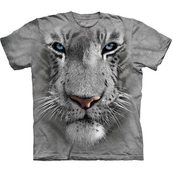 N/A – T-shirt med kæmpe hvid tiger fra mypets.dk