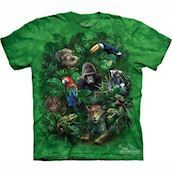 T-shirt med jungle dyr collage