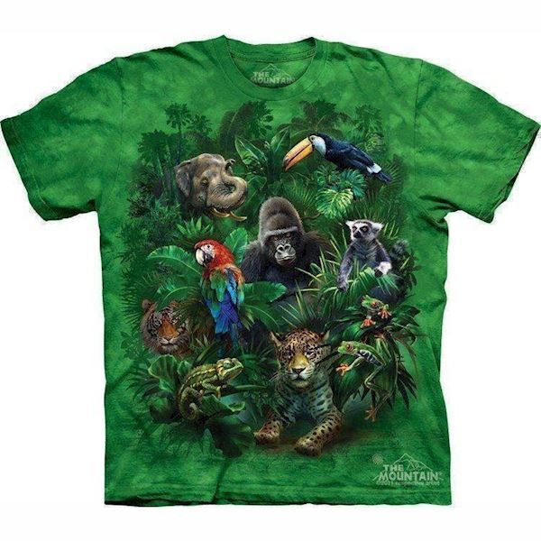 N/A – T-shirt med jungle dyr collage fra mypets.dk