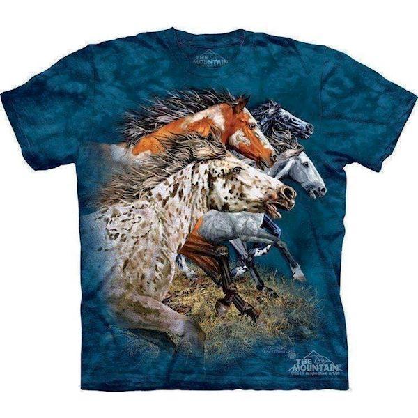 N/A – T-shirt med løbene vilde heste på mypets.dk
