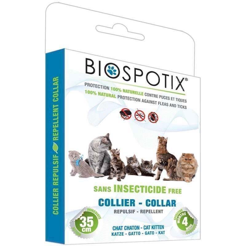 N/A – Biospotix loppehalsbånd til katte mod lopper, lus, flåter, tæger og myg fra mypets.dk