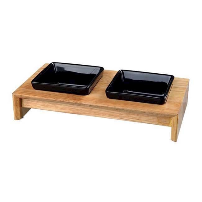 Skålesæt, keramikskåle med holder i lakeret træ fra N/A fra mypets.dk