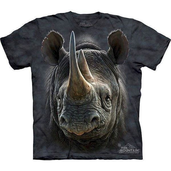 N/A T-shirtmed kæmpe næsehorn ansigt fra mypets.dk