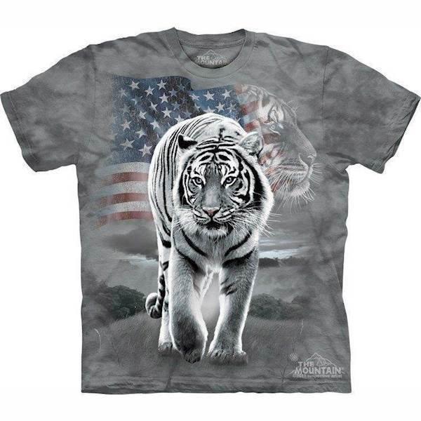 N/A – T-shirt med patriotisk hvid tiger fra mypets.dk
