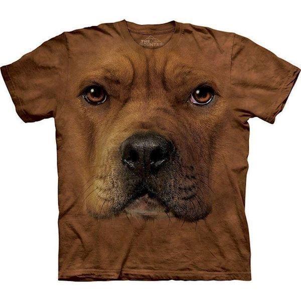 N/A – T-shirt med kæmpe staffordshire terrier ansigt på mypets.dk