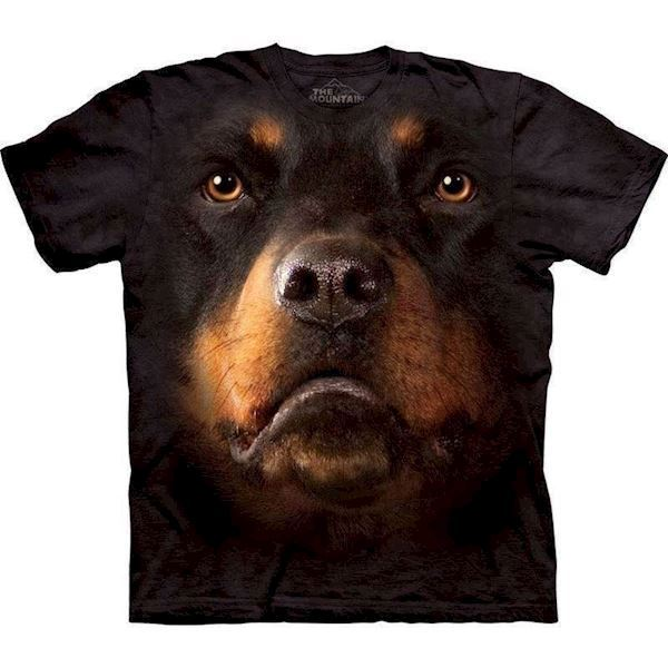 N/A – T-shirt med kæmpe rottweiler ansigt på mypets.dk