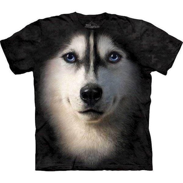 T-shirt med kæmpe siberian husky ansigt fra N/A på mypets.dk