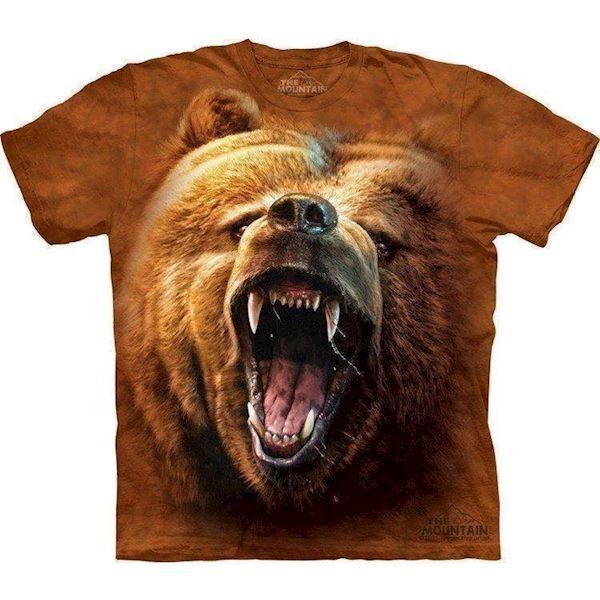 N/A – T-shirt med snerrende grizzly bjørn på mypets.dk