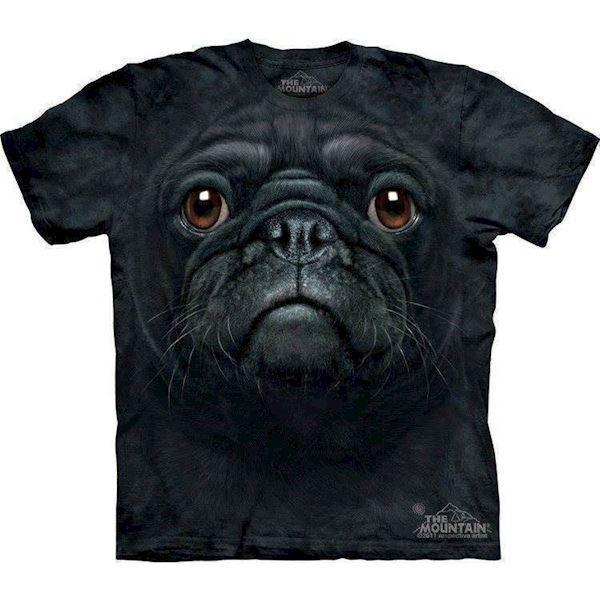 N/A T-shirt med kæmpe sort mops ansigt på mypets.dk