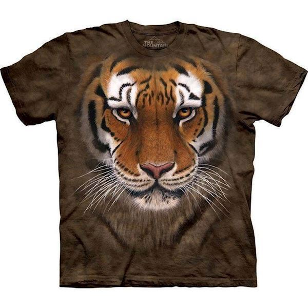 N/A – T-shirt med kæmpe tiger ansigt fra mypets.dk