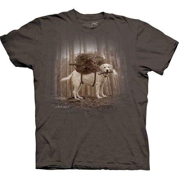N/A – T-shirt med labrador som skovhugger på mypets.dk