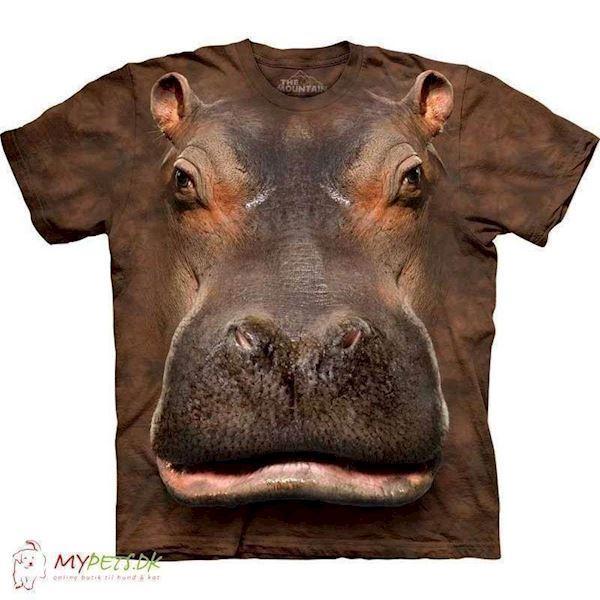 N/A T-shirt med kæmpe flodhest ansigt fra mypets.dk