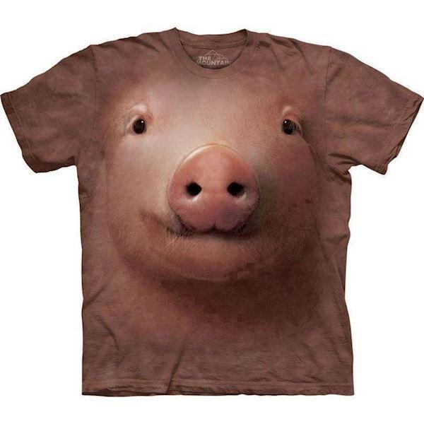 T-shirt med kæmpe grisse hoved fra N/A fra mypets.dk