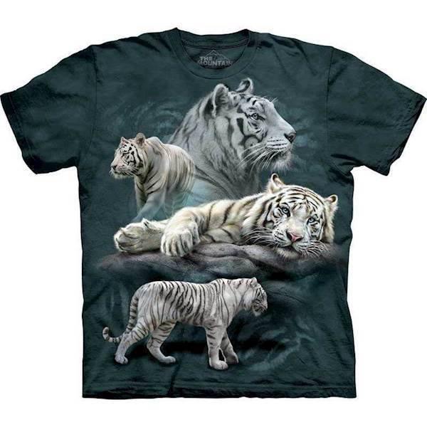 N/A T-shirt med hvid tiger motiv fra mypets.dk