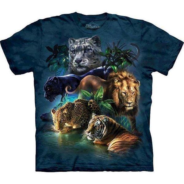 N/A T-shirt med løve, tiger, panter og leopard på mypets.dk