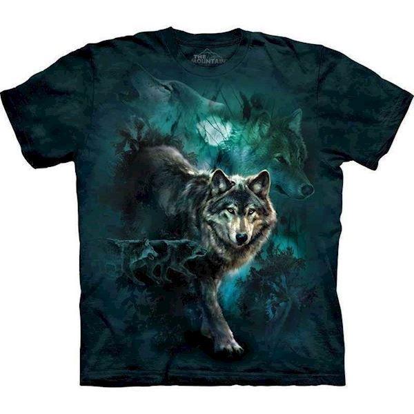 N/A – T-shirt med ulve i natten fra mypets.dk