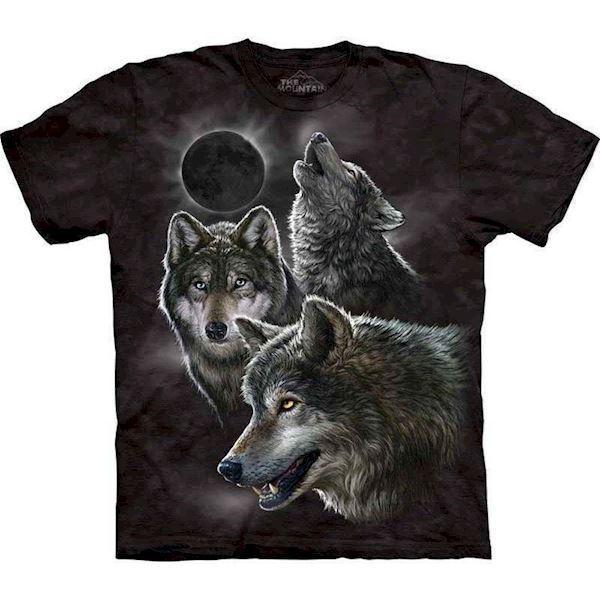 N/A T-shirt med 3 ulve og natte motiv fra mypets.dk