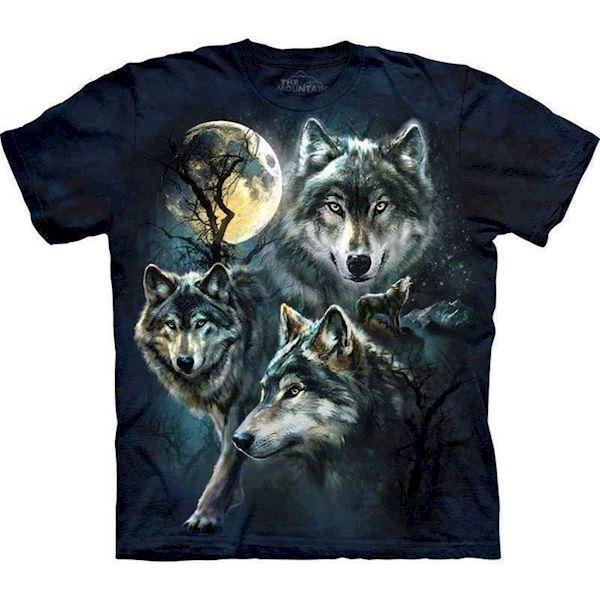 T-shirt med 3 ulve og måne motiv fra N/A fra mypets.dk