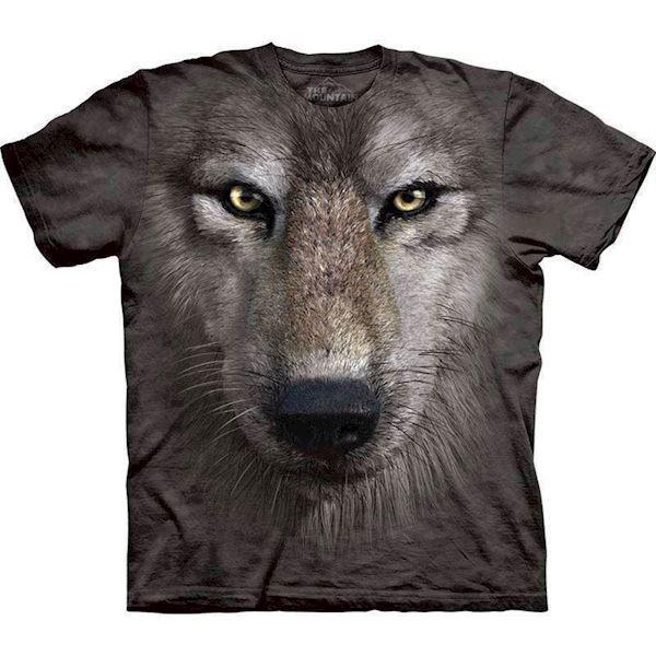 N/A T-shirt med kæmpe ulve ansigt fra mypets.dk