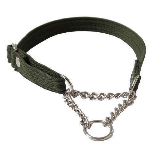 N/A – Webbing halsbånd med kæde, grøn, small fra mypets.dk