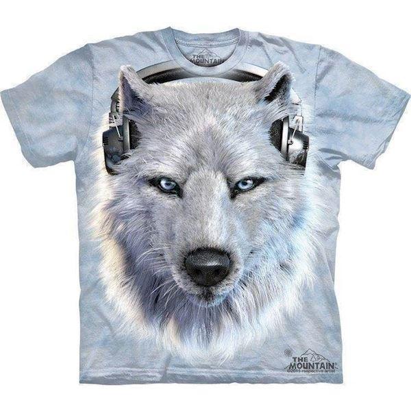 N/A White wolf dj t-shirt fra mypets.dk